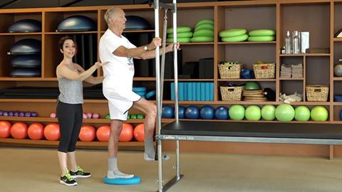 STOTT PILATES® for Active Aging: Standing Leg Press on Cadillac