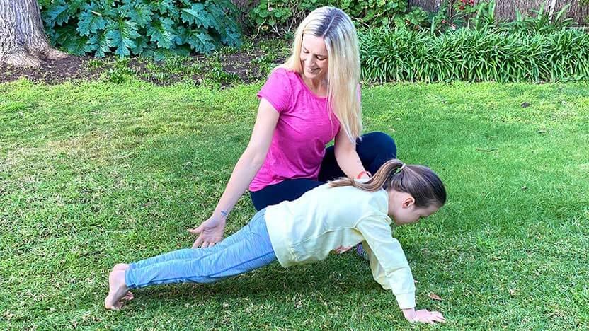 Bec McLean instructing Pilates for Kids