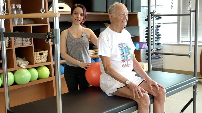 Video: STOTT PILATES Active Aging Ab Work with Stability Ball