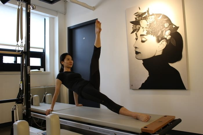 Julie Lee leg exercises on the Pilates Reformer