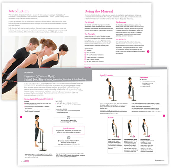 Pages from the Total Barre manual