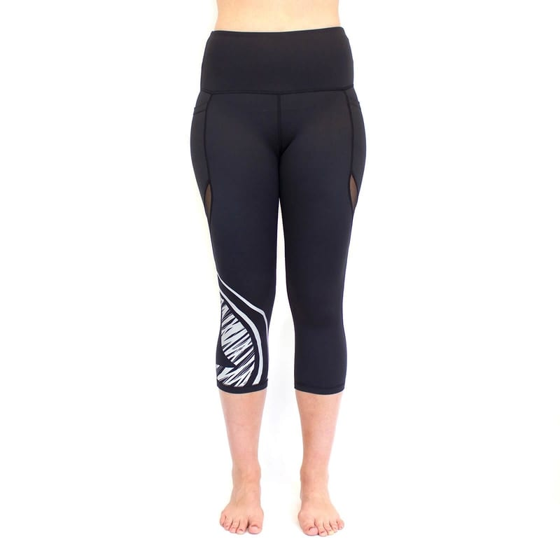 Medallion Crop Legging with pockets - black