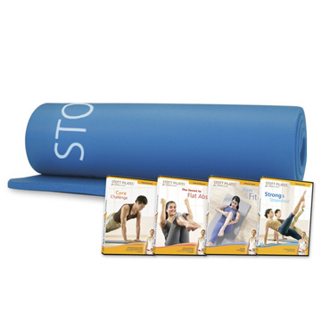 Deluxe Pilates Mat (blue) + 4 Matwork At Home DVDs
