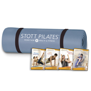 Pilates Express Mat (steel blue) & 4 At Home Matwork DVDs