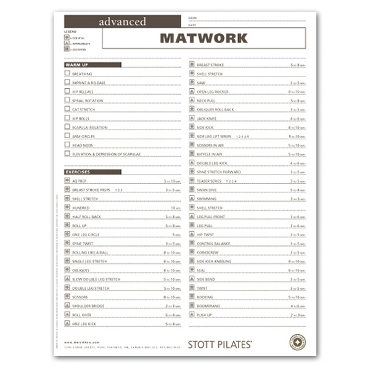 Client Workout Sheets - Advanced Matwork