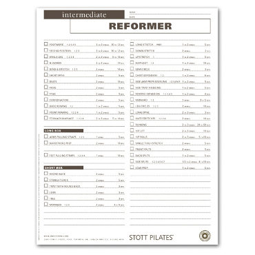 Client Workout Sheets - Intermediate Reformer