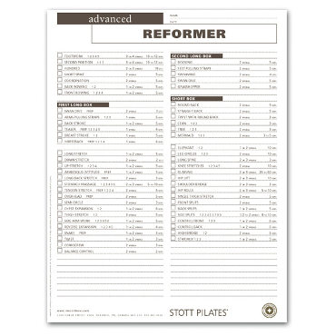 Client Workout Sheets - Advanced Reformer