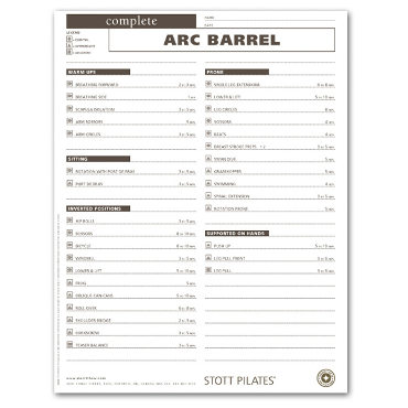 Client Workout Sheets - Complete Arc Barrel