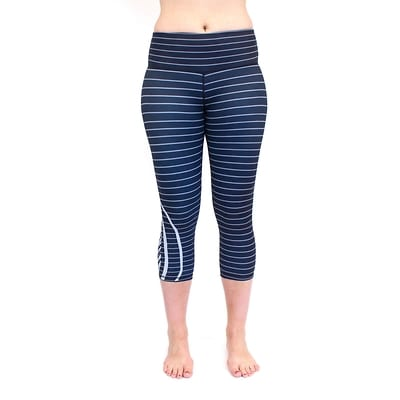 Medallion Crop Legging (gray stripe) - L