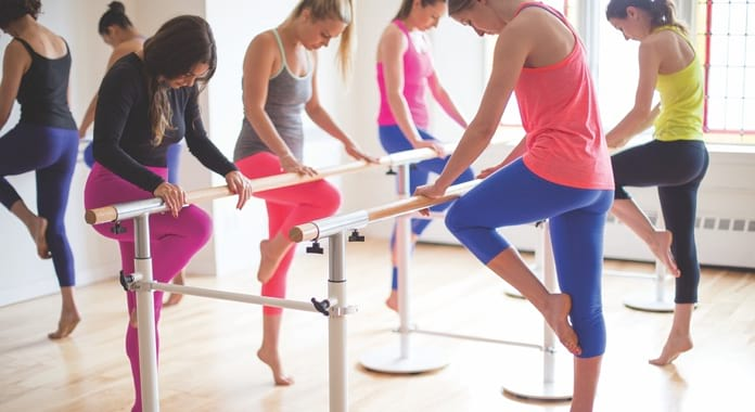 Students in Total Barre class